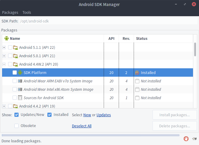 Android SDK Manager Platform