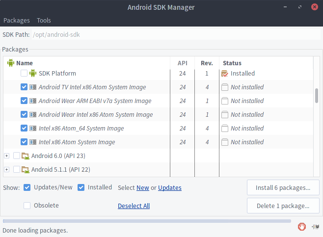 The Android SDK Manager auto selecting System Images