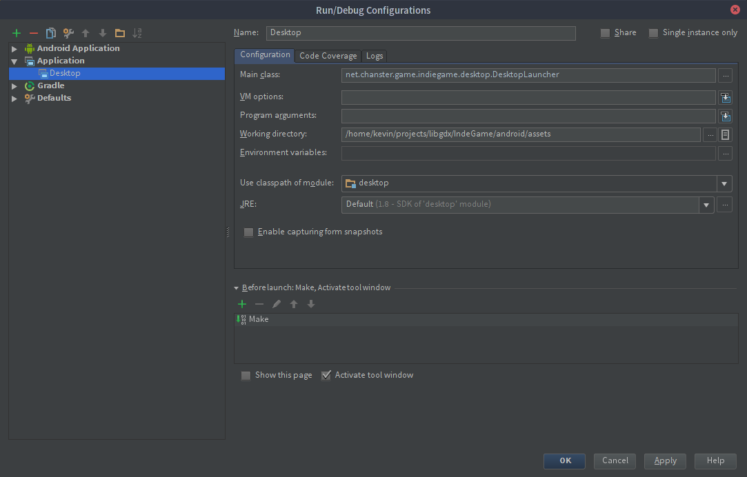 IntelliJ Debug Configurations Application