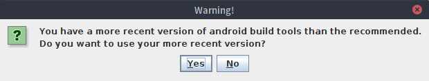 LibGDX Android Build Tools Warning